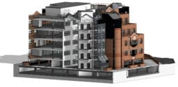 3d measure building survey of bayard place front external